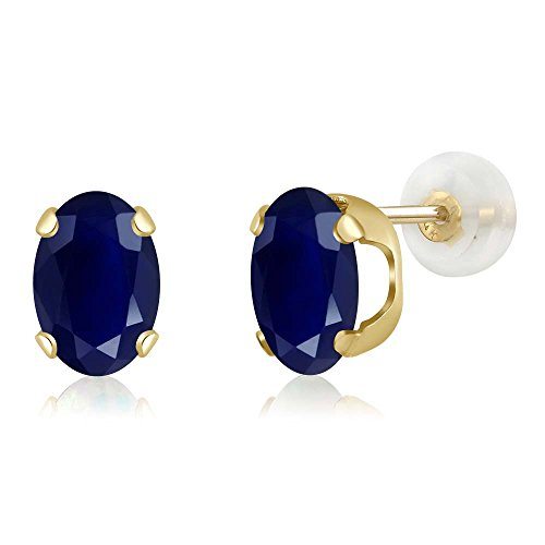Gem Stone King 14K Yellow Gold Blue Sapphire Stud Earrings 2.04 Ctw Gemstone Birthstone Oval 7X5MM