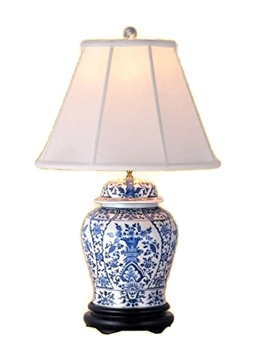 Vintage Porcelain Lamp - Beautiful Blue and White Chinoiserie Porcelain Temple Jar Table Lamp w Shade 29