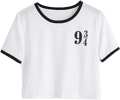 Moda Cool Imprimir Mujer Camiseta Blanca de algodón de Las Mujeres Camisetas de Verano Casual Harajuku T Camisa Mujer Superior: Amazon.es: Ropa y accesorios