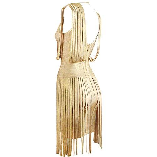 HLBCBG rayón de la mujer vendaje Bodycon vestido de cóctel vestido de fiesta 2405 dorado