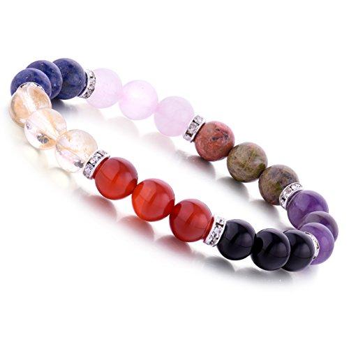 WRCXSTONE Genuine 7 Chakra Gemstone Balancing Bracelet Handmade 8MM Round Healing Crystal 7.25 Inch