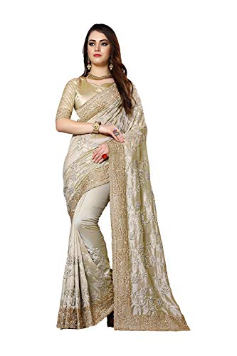 Designer Sarees Heavy Resham Jari Embroidery Work with Heavy Stone Work Mayo Silk Saree for Women with Unstitched Blouse Piece. Golden ()