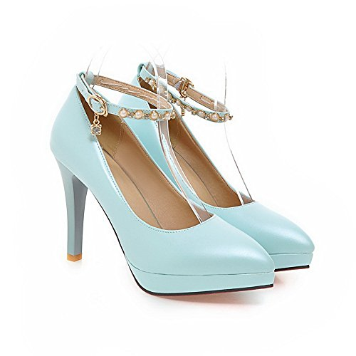 BalaMasa Ladies Bead Studded Rhinestones Metal Buckles Ankle Cuff Imitated Leather Pumps-Shoes Blue EkXUfLJo