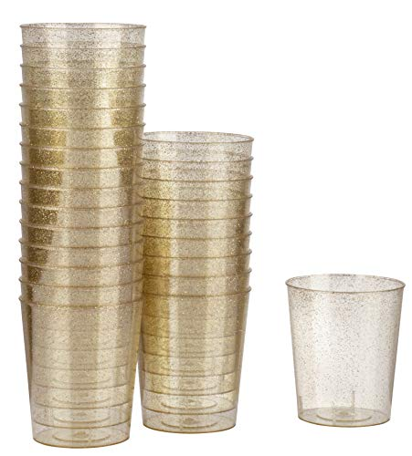 Mini Plastic Shot Cups - 100-Pack Clear with Gold Glitter 2-Ounce Disposable Reusable Shooter Drinking Cups, Elegant Tasting Sampling, Birthday, Wedding, Bridal Shower Party Supplies, 1.7 x 2 Inches -