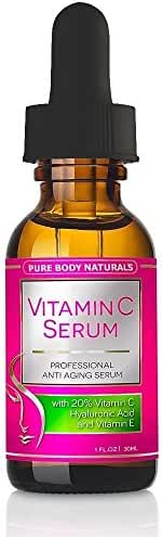 Pure Body Naturals Anti-Aging Vitamin C Facial Serum with Hyaluronic Acid & Vitamin E, 1 Fl. Oz.