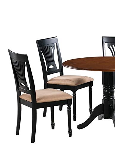 Wood Dining Chair with Microfiber Upholstery - Dining Chair with Queen Anne Back - Set of 2 - Black