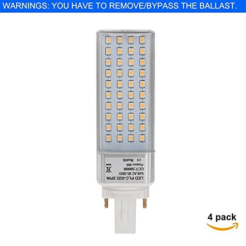 HERO-LED G23D-8W-DW Rotatable PL-S Lamp G23D 2-Pin LED CFL/Compact Fluorescent Lamp Replacement, 8W, 18W Equal, Daylight White 5000K, 4-Pack (Remove/bypass the (Compact Fluorescent Lamp 2 Pin)