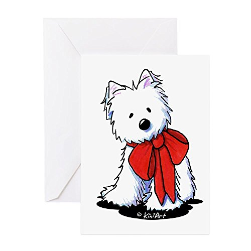 (CafePress - Red Ribbon Westie - Greeting Card (20-pack), Note Card with Blank Inside, Birthday Card Matte)