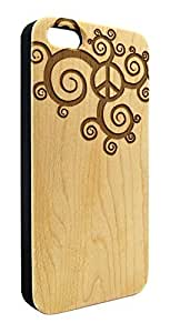 Genuine Maple Wood Organic Swirl Pattern Peace Sign Snap-On Cover Hard Case for iPhone 6 Plus