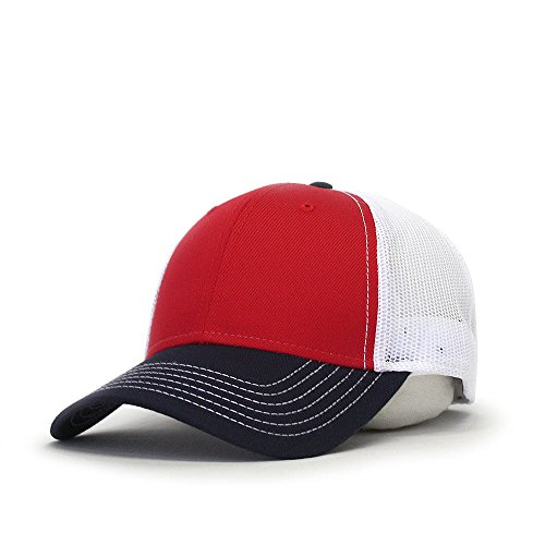 Vintage Year Plain Cotton Twill Mesh Adjustable Snapback Low Profile Trucker Baseball Cap (Various Colors) (Navy/Red/White) ()