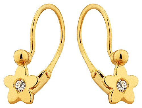 Orleo - REF1478BB : Boucles d'oreille Femme Or 18K jaune et Oxyde de zirconium - Etoile - Fabriqué en France