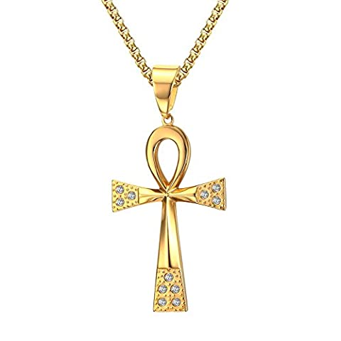 Stainless Steel Cubic Zirconia Egyptian Ankh Cross Pendant Necklace,Gold Plated,24 inch Chain