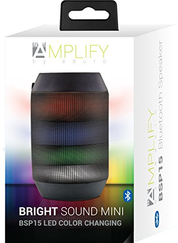 Aduro AMPLIFY LED Bluetooth Wireless Speaker - Color Changing Rave Light Show Party Speaker (BrightSound Mini) 5 Works with all Smartphones and Tablets, Including Apple iPhone, iPad, Galaxy, Android, and all Bluetooth Enabled Devices Easy-Touch Pairing - Let's you pair the speaker to your phone quickly so you can get starlight to the party Mic Included for Hands-Free Calls - So you can answer your calls and communicate without any interruptions