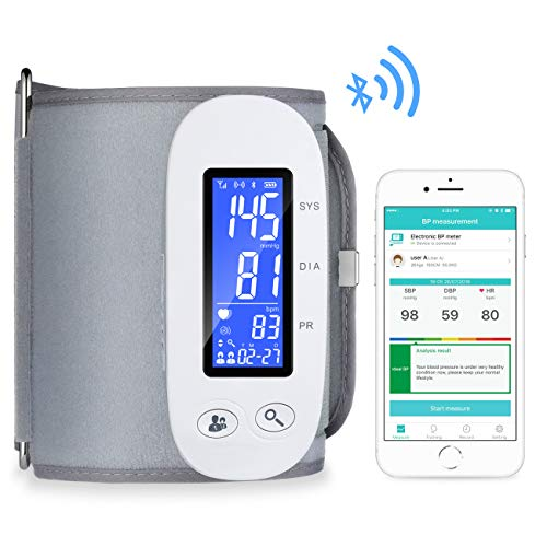Bluetooth Blood Pressure Monitor, Digital Automatic Blood Pressure Cuff Wrist, FDA Approved Large Screen 2*500 Memory Blood Pressure Machine, Upper Arm BP Monitor Cuff with APP for Apple iOS & Android ()