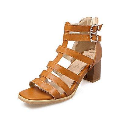LvYuan Mujer-Tacón Robusto-Confort Zapatos del club-Sandalias-Boda Oficina y Trabajo Vestido Informal Fiesta y Noche-Materiales Personalizados Brown