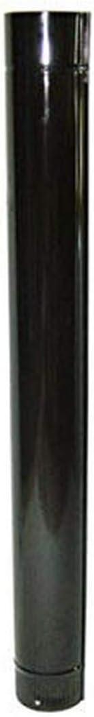 Wolfpack 22011030 Tubo Acero Vitrificado Ideal Estufas de Leña, Chimenea, Alta resistencia, Color Negro, Ø 150 mm sin llave