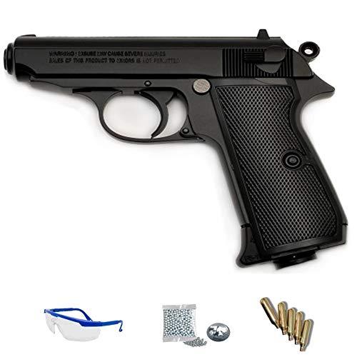 y balines de Acero perdigones BBS 1103 FS BLOWBACK R/éplica Tipo Walther PPK 3,5J CO2 Calibre 4.5mm Pack Pistola de Aire comprimido