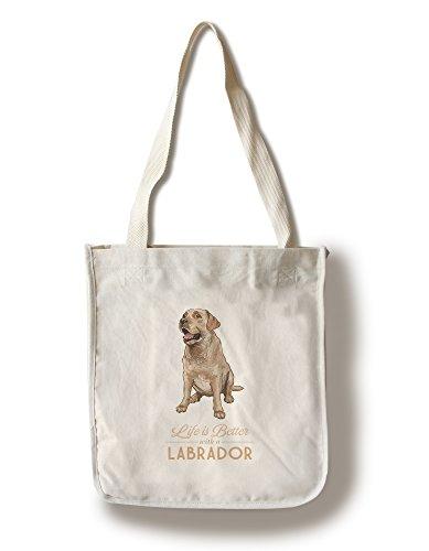 Retriever Tote Bag - Yellow Labrador Retriever - Life is Better (100% Cotton Tote Bag - Reusable)