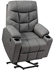DORTALA Power Lift Recliner Chair, Electric Reclining Living Room Sofa for Elderly w/ 8 PointMassage& Lumbar Heat, Overstuffed Motorized Sofa Chair w/ USB Port, Cup Holders, Remote Control, Side Pocket, Gray