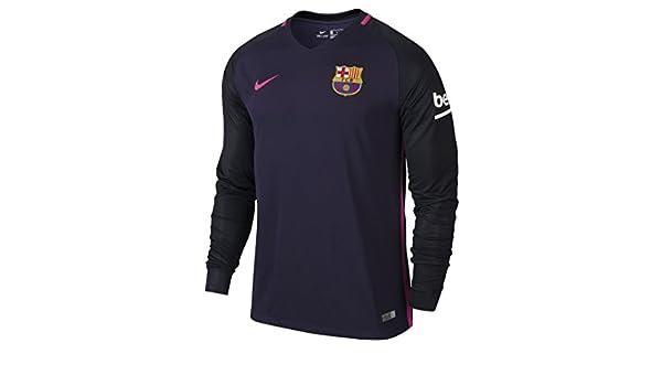 NIKE FC Barcelona M LS AW Stadium JSY Camiseta de Manga Larga, Hombre, Morado (Purple Dynasty/Black/Vivid Pink), L: Amazon.es: Ropa y accesorios