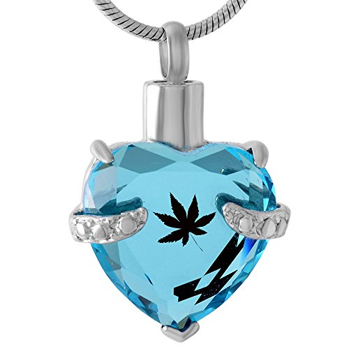 Stainless steel Glass Heart Ashes Keepsake Carved Free Cremation Birthstone Urn Locket Pendant (Maple Urn)