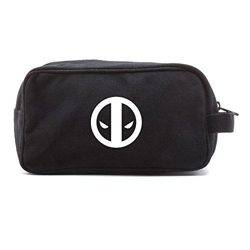 Deadpool Logo Canvas Shower Kit Travel Toiletry Bag Case in Black & White
