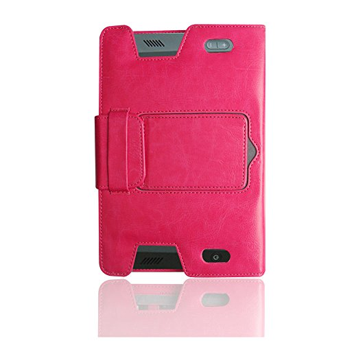 KVAGO for Kindle Fire HD 7 Keyboard Case Soft Leather Protective Case Folio Cover Book Like Flip Sleeve with Kickstand Portable Detachable Keypad Removable Wireless Bluetooth Keyboard Carrying Case for Kindle Fire HD 7 - Rose Red