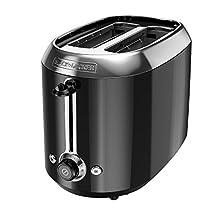 BLACK+DECKER TR1300BD 2-Slice Extra-Wide Slot Toaster, Bagel Toaster, Black/Stainless Steel