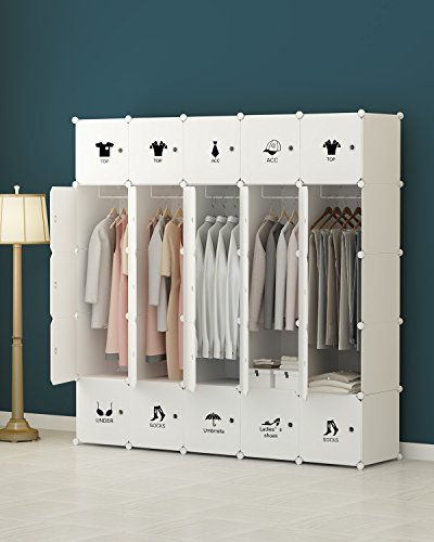 KOUSI Portable Closet Clothes Wardrobe Bedroom Armoire Storage Organizer with Doors, Capacious & Sturdy. 25 cube White by KOUSI
