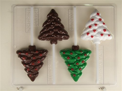 Christmas Tree with Hearts Lollipops - Chocolate Candy Mold - C171