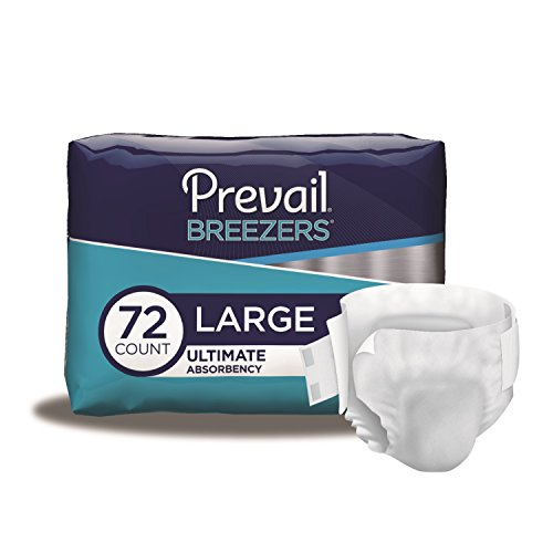 (Prevail Breezers Ultimate Absorbency Incontinence Briefs, Large, 18 Count (Pack of 4))