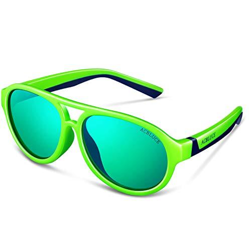 Kids Sport Sunglasses for Boys Child Teen Youth Junior UV Protection Polarized Glasses, Bright Green/ Dark Blue Frame green Revo Lense