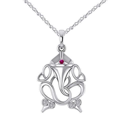 Pretty Jewels 925 Sterling Silver Red Ruby & Diamonds Ganesha Elephant OM Hindu Pendant W/Chain (I1-I2)