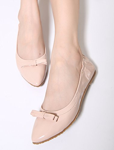 Flat Bowknot Carne on Mujeres Shoes Dqq Del Color Pointy Slip TWaYxTf7P