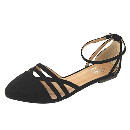Black Womens Betani Flats Ankle Abela 9 Ballerina Strap Ballet vwfq8wEA