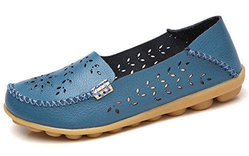 VenusCelia Women's Breathable Natural Walking Flat Loafer(6 M US,Blue)