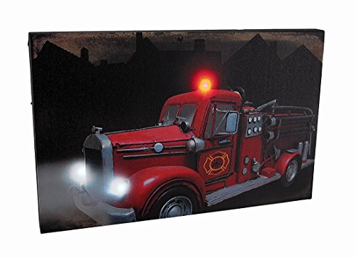 Zeckos Canvas Prints Vintage Fire Truck Led Lighted Canvas Wall Hanging 16 X 10 X 1 Inches Multicolored