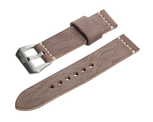 SWISS REIMAGINED Brown Wax Finish Leather Watch Band with Satin Finish Stainless Steel Buckle - 20mm