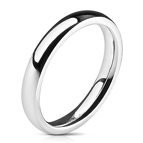 UNU Style CHOOSE Your Width 3mm-8mm Stainless Steel Glossy Mirror Polished Traditional Dome Wedding Band Ring (3mm - Size 9) ()
