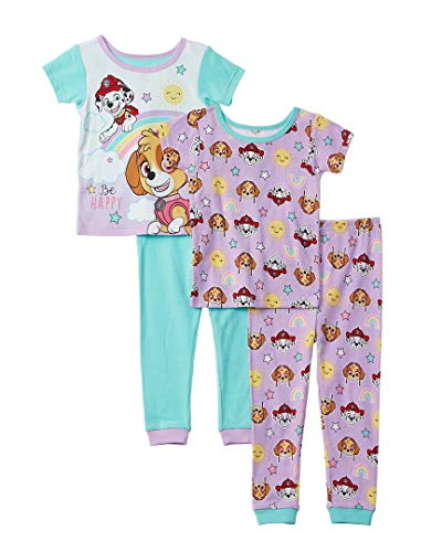 Nickelodeon Girls' Toddler Paw Patrol 4-Piece Cotton Pajama Set, Puppy Purple, 2T]()