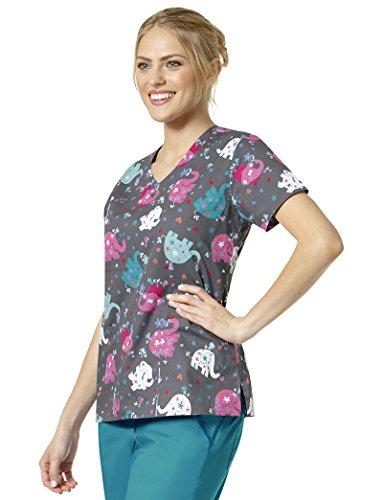 Elephant V-neck - Chloe Zoe Women's V-Neck Elephant Print Scrub Top Large Print