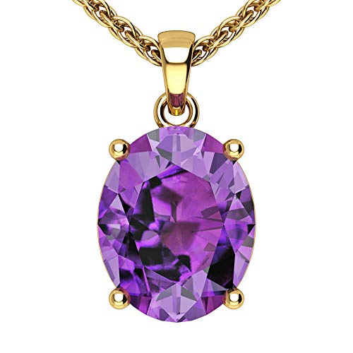 - Belinda Jewelz Womens 14k Yellow Gold Oval Shape 10 mm Gemstone Rhodium Plated Sparkling Prong Real Sterling Silver Fine Jewelry Classic Chain Hanging Pendant Necklace, 1.8 Ct Amethyst Purple, 18 inch