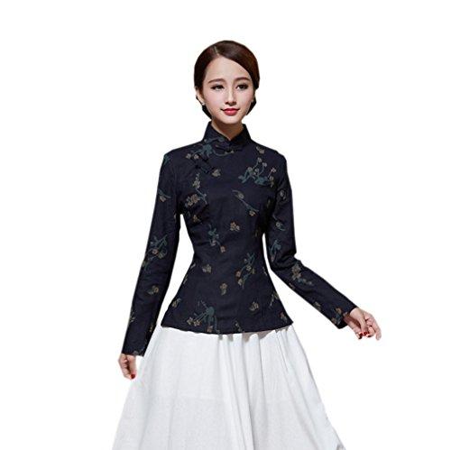 de Motif Couleurs Chic Fleur Longue Manche Blouse I Coton Femme en Chanvre Veste ACVIP 10 Tang avec de qx5Ozvnwa