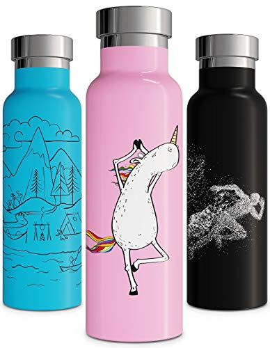 Vacuum Insulated Water Bottle Stainless Steel Double Walled Thermos Sweat Free Leak Proof Eco Friendly Gift Durable Yoga Keeps Hot for 12 Hrs and Cold for 24 Hours 600ml (20oz, Pink SS)