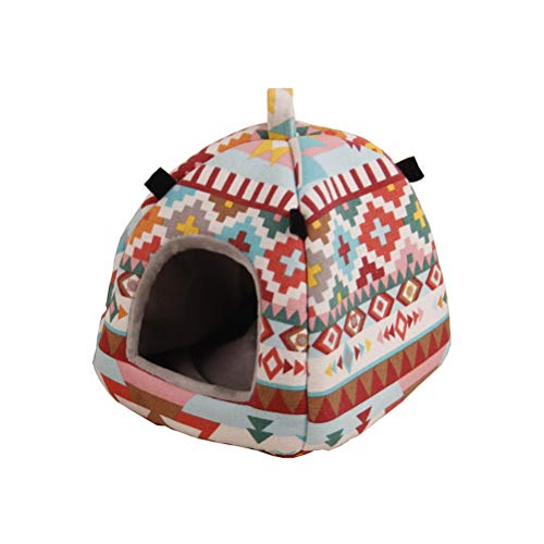 POPETPOP Cute Guinea Pig Hamster House Bed Hammock Winter Warm Squirrel Hedgehog Chinchilla Bed House Tent Cage Nest Hamster Accessories(Small,Fame Style)