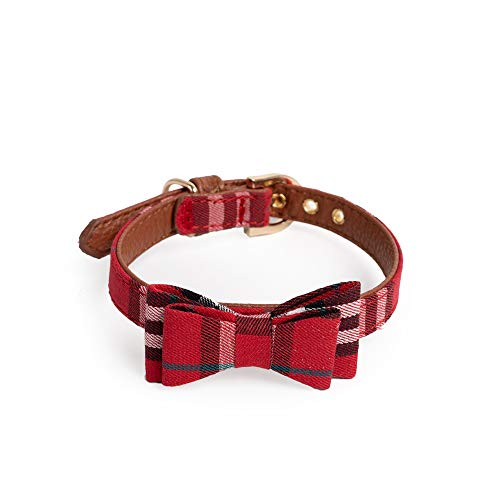 """Leo and his friends Basic Classic PU Leather Pet Bow Collars for Cats Puppy Small Medium Dogs 13.3"""" Long x 1/2″ Wide"""