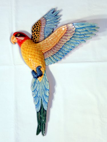 Handpainted Flying Yellow Parrot Wall Mount Decor Plaque 19