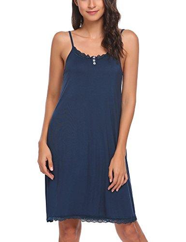 Ekouaer Sexy Satin Full Slip Women's V Neck Adjustable Spaghetti Straps Nightgown Chemise Sleepwear (Dark Blue ()