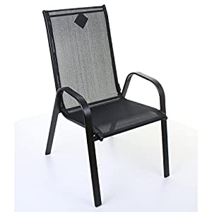 Marko Outdoor Stacking Textoline Chair Black Outdoor Bistro High Back Seating Restaurant Cafe (4 Chairs, Black)