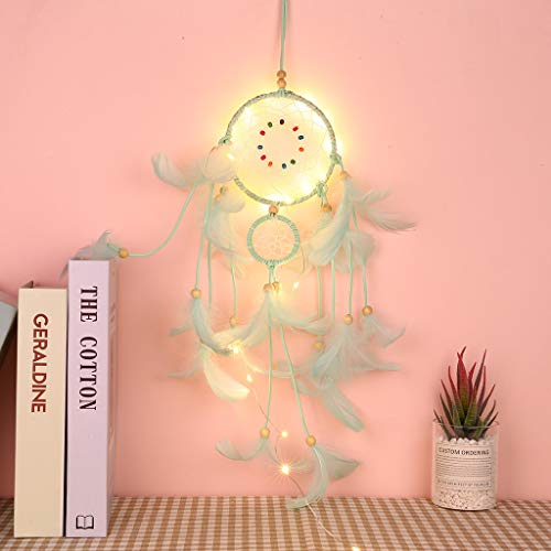 JHFUH Light up Dream Catchers Hand-Woven Original Warm Mysterious Dream Catcher for Bedroom Wall Hanging Decorations with 20 LED Lights (Green)